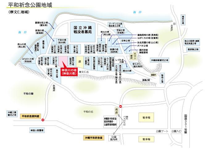 神奈川の塔の地図