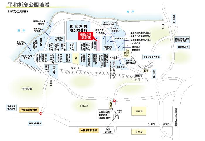 徳島の塔の地図